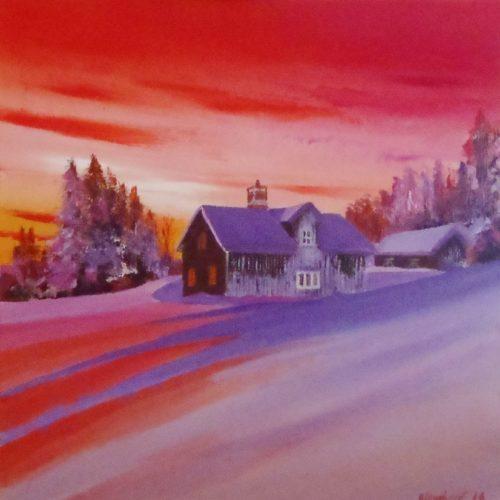 Village sous la neige et ciel rouge