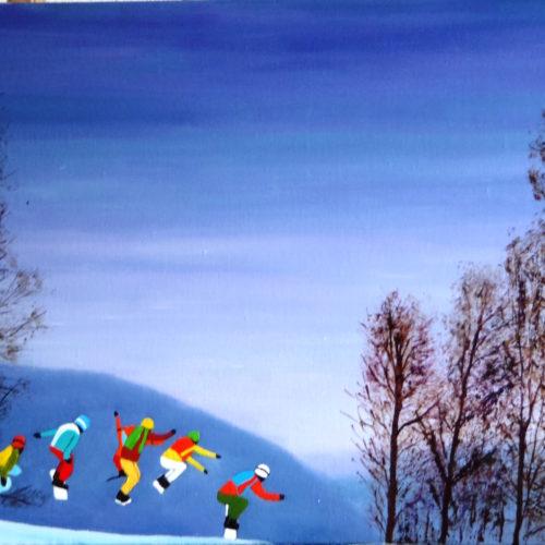 Sauts sur la neige en snowboard