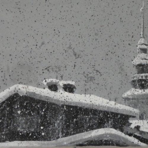 Chute de neige sur le clocher