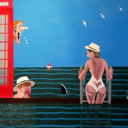 Femme en maillot de bain, requin et hommes voyeurs