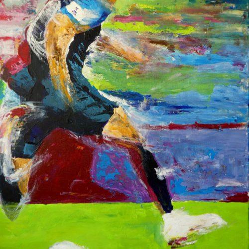 Joueur de foot en course